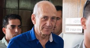 Former Israeli prime minister Ehud Olmert after being sentenced to six years in jail for bribery. Photograph: Reuters/Jack Guez