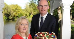 Chocolatier Olivia Curran, supreme award winner at last year's Blas na hÉireann awards,  with Simon Coveney, Minister for Agriculture, Marine and Food, at the launch of the 2014 awards in Dublin today