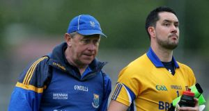 Wicklow manager Harry Murphy and goalkeeper John Flynn after last June's defeat to Meath in the Leinster quarter-final in Aughrim, Co Wicklow. Photograph: Inpho