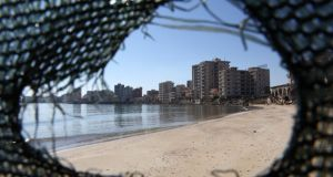 Destroyed and deserted hotels are seen  in the Turkish-occupied area in the abandoned coastal city of Varosha in Famagusta, Cyprus. Photograph: EPA/Katia Christodoulou