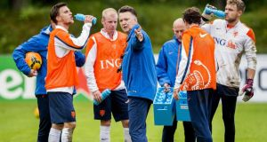 Netherlands  national  coach Louis van Gaal (centre) leads a training session of the Dutch national  team in Hoenderloo, the Netherlands. Photograph:  Koen Van Weel/EPA