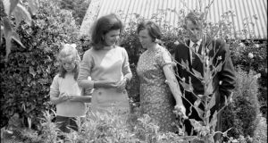 Chatting outdoors on the 1967 visit to the Kennedy homestead in New Ross. Photograph: Irish Photographic Archive/Lensmen