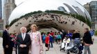 President o Michael D. Higgins  and his wife Sabina  visit Cloud Gate also known as 'The Bean' at Millennium Park in Chicago, Illinois. Photograph: Kamil Krzaczyniski/EPA