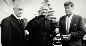 Fr Joseph Leonard, Fr William Purcell and  John F Kennedy at All Hallows College in September 1955.