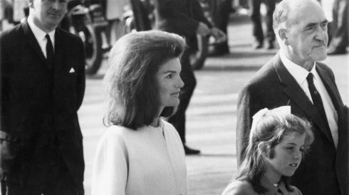 Jackie Kennedy and daughter Caroline arriving at Shannon Airport on their 1967 visit. Photograph: Keystone/Hulton Archive/Getty Images