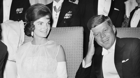 President John F Kennedy and first lady Jacqueline Kennedy as they attend one of five inaugural balls in Washington.