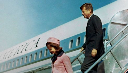 President John F Kennedy and first lady Jacqueline Bouvier Kennedy walk down the steps of Air Force One as they arrive at Love Field in Dallas, Texas less than an hour before his assassination in this November 22nd, 1963 photo.  Photograph: JFK Library/The White House/Cecil Stoughton/Handout