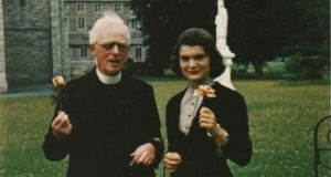 Jacqueline Bouvier Kennedy wirh Fr Joseph Leonard: the archive of her correspondence with the priest will be sold at auction next month. Photograph Sheppard's Irish Auction House.