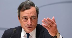 European Central Bank (ECB) president Mario Draghi speaks during a news conference following the ECB governing council meeting in Brussels earlier this month. Photograph: Francois Lenoir/Reuters