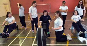 Students from Caritas College, Ballyfermot enjoying a rowing workout. Photograph: Brenda Fitzsimons