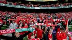 Liverpool fans may have been short-changed by the lack of star quality on show but it didn't prevent them singing  You'll Never Walk Alone  with gusto before the start of last night's friendly at the  Aviva Stadium. Photograph: James Crombie/Inpho