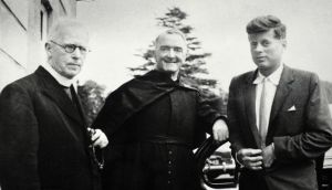 Senator Kennedy at All Hallows College in Dublin in September 1955 with Fr Leonard (left) and All Hallows president Fr William Purcell