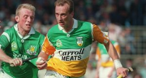 All-Ireland Final 1994; Limerick v Offaly Joe Dooley of Offaly chased by Dave Clarke