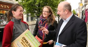 Avril Grufferty, Ballinrobe (left) and Martha Egan, Finney, meet Cllr Brendan Henaghan, on his local election canvass in Castlebar. Photograph: Michael Donnelly