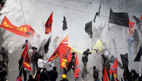 Riot police use water cannon in Istanbul to disperse protesters during a demonstration in reaction to the deaths in the Soma mine blast. Photograph: Erdem Sahin/EPA
