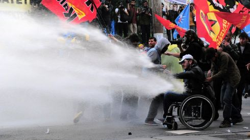 Riot police use water cannon in central Istanbul to disperse protesters during a demonstration blaming the ruling AK Party (AKP) government for the mining disaster in western Turkey. Photograph: Yagiz Karahan/Reuters