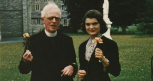 Jackie Kennedy with Fr Joseph Leonard in Dublin. Photograph: Sheppard's/Irish Auction House