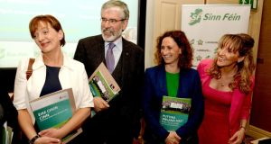 Sinn Féin president Gerry Adams this week with  European Election candidates Liadh Ní Riada, Lynn Boylan and Martina Anderson at the  launch of the party's European election manifesto in  Dublin. Photograph: David Sleator/The Irish Times