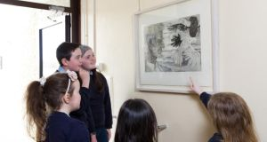 When the school is a gallery: Pupils from  St Mary's National School, Drung, Co Cavan consider  From an Abandoned Work VI by Diarmuid Delargy, as part of the Ark 1x1 project