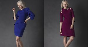 Left: Film wool tailored top and skirt with exaggerated asymmetrical double- layered frill shoulder detail about €1,350.
