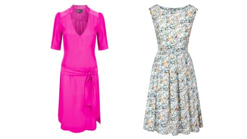 Electric pink silk belted dress, €250, Ms Beatty at Maven, Dublin 2 Multicolour crystal print cotton dress, €325, for stockists see roisinlinnane.com