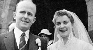 Jim Devlin and his wife, Gertrude, pictured on their wedding day - both were shot dead by UVF gunmen in the laneway of their home at Edendork, near Coalisland, Co Tyrone, N Ireland, on 7th May 1974. Photograph: Copyright Image  Victor Patterson