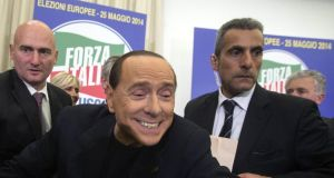 Silvio Berlusconi, leader of centre-right Italian party Forza Italia, greeting supporters in Rome this week. Photograph: Angelo Carconi/EPA