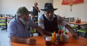'El Doctor' and autodefensas leader José Manuel Mireles (right), co-ordinator of the vigilante groups of the state of Michoacán, and spokesperson Estanislao Beltran, known as Papa Pitufo (Papa Smurf), in Arteaga. Photograph: Reuters/Alan Ortega
