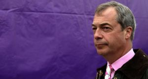 "UK Independence Party leader Nigel Farage: complained journalists want only to talk ""about the idiots in Ukip"" who make racist or homophobic remarks. Photograph: Matthew Lloyd/Getty Images"