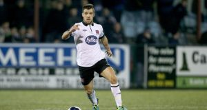 Dundalk's Darren Meenan who scored his side's winner during their Premier Division match at Limerick on Friday night. Photograph: Inpho