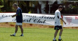 Republic of Ireland manager Mick McCarthy and Roy Keane at training in Saipan. Photograph:   Andrew Paton/Inpho