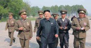 North Korean leader Kim Jong Un walks with military officials during an inspection of the Korean People's Army  in Pyongyang this week. Photograph: KCNA/Reuters