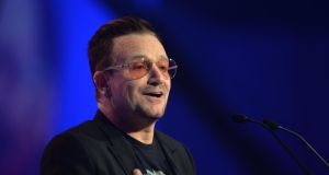U2 singer Bono speaking at the Convention Centre in Dublin in March. The band fell five places in this year's Sunday Times Rich List, as the wealth of their former manager is now listed separately. Photograph: Alan Betson / The Irish Times