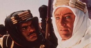 Peter O'Toole (right) as T.E. Lawrence, with co-star Omar Sharif, from the 1962 film Lawrence of Arabia