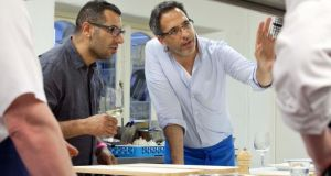 Sami Tamimi and Yotam Ottolenghi prepare dinner at Ballymaloe on Saturday. Photograph: Clare Keogh
