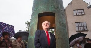 John Condon, nephew of Private John Condon,  who is recorded as the youngest battle casualty of the First World War and was known as the Boy Soldier, at the unveiling of a monument to his uncle in Waterford today. Photograph:  Patrick Browne