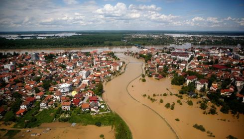 An aerial view of the flooded city of Brcko in Bosnia. On Sunday, Russian cargo planes and rescue teams from around Europe joined huge volunteer aid efforts in swathes of Serbia and Bosnia where at least 44 people have died in the worst floods in over a century. Photograph: Dado Ruvic/Reuters