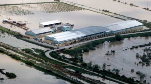 An aerial view of flooding in Orasje, Bosnia. Photograph: Dado Ruvic/Reuters