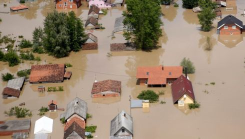 An aerial view of the flooded city of Orasje in Bosnia. Photograph: Dado Ruvic/Reuters