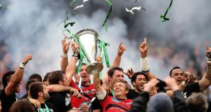 Toulon's Jonny Wilkinson, lifting the Heineken Cup trophy in Dublin last year, has confirmed he will retire at the end of the season. Photograph: Julien Behal/PA Wire.
