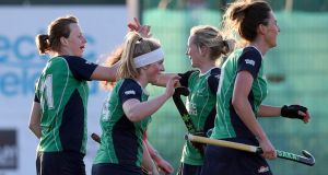 Ireland's Megan Campbell (left)  celebrates scoring against India during their recent match at Belfield. Ireland had initially been drawn to play in Montevideo in Uruguay. Photograph: Inpho