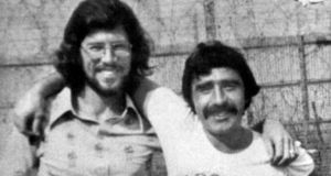 Above, Brendan Hughes, in Long Kesh prison with Gerry Adams. Photograph: Alan Lewis/Photopress.