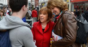 Labour's European candidate Emer Costello canvassing on Grafton Street, Dublin, with Minister for Social Protection Joan Burton. Photograph: Dara Mac Dónaill