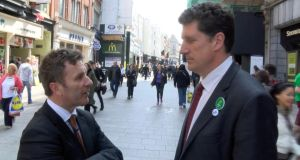 Harry McGee with Eamon Ryan on Grafton Street yesterday. Photograph: Darragh Bambrick