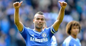 Chelsea's Ashley Cole acknowledges the Chelsea fans after the final league game of the season.