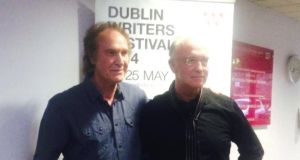 Ray Davies with author Joseph O'Connor at the National Concert Hall last night as part of the Dublin Writers Festival.