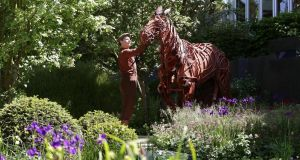 The puppet from the play 'War Horse', in the No Man's Land garden. Photograph: Yui Mok/PA Wire Joey, the three-man horse puppet from the theatre production of 'War Horse' in the 'No Man's Land' garden, a first World War  commemorative garden by The Soldiers' Charity. Photograph: PA