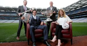 SKY Sports presenters Rachel Wyse and Brian Carney with analysts Jamesie O'Connor (hurling) and Peter Canavan (football). Photo: Dan Sheridan/Inpho