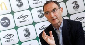 Republic of Ireland manager Martin O'Neill speaking during yesterday's summer squad update announcement in Waterford. Photograph: Donall Farmer/inpho