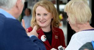Mary Fitzpatrick: Fianna Fáil candidate canvassing in Stillorgan, yesterday. Photograph: Cyril Byrne